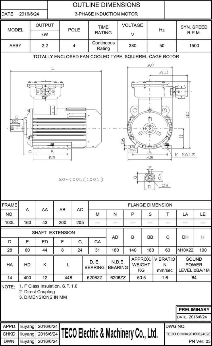 AEBY 2.2KW 4P 卧式防爆电机尺寸图